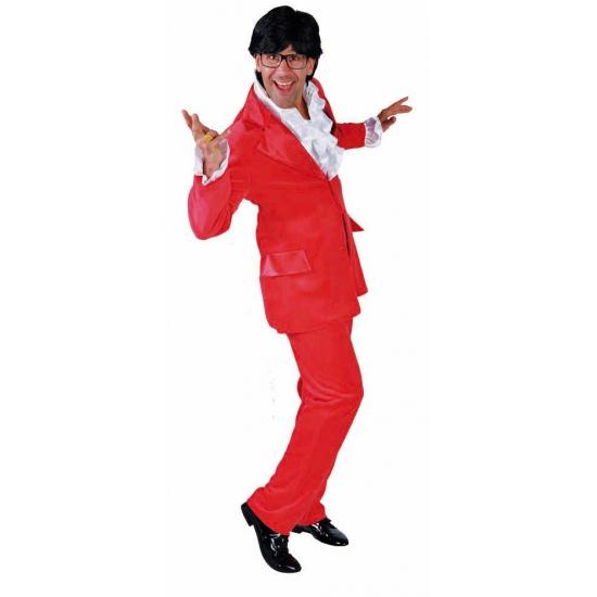 Rood kostuum voor heren fluweel look