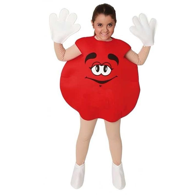 Rood M en M snoepje kinder kostuum