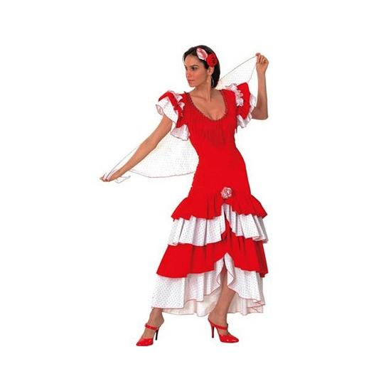 Rood met witte Flamenco verkleed jurk