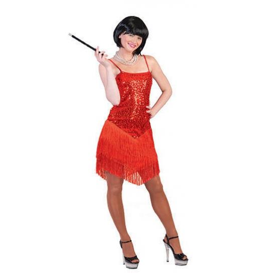 Rood party jurkje met glitter en franje