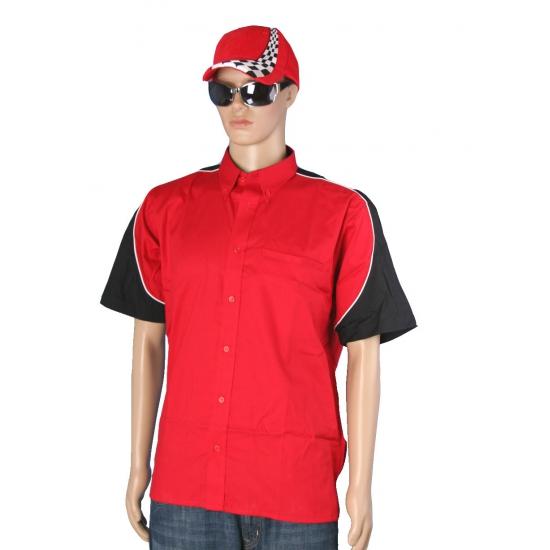 Rood race overhemd inclusief race cap maat XL