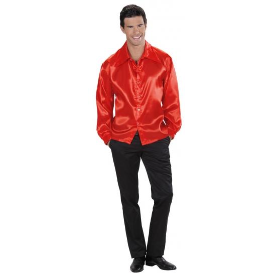 Rood satijnen shirt voor heren
