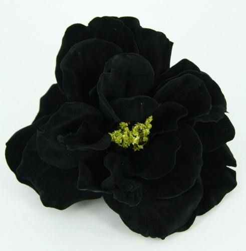 Roos met clip zwart 10 cm