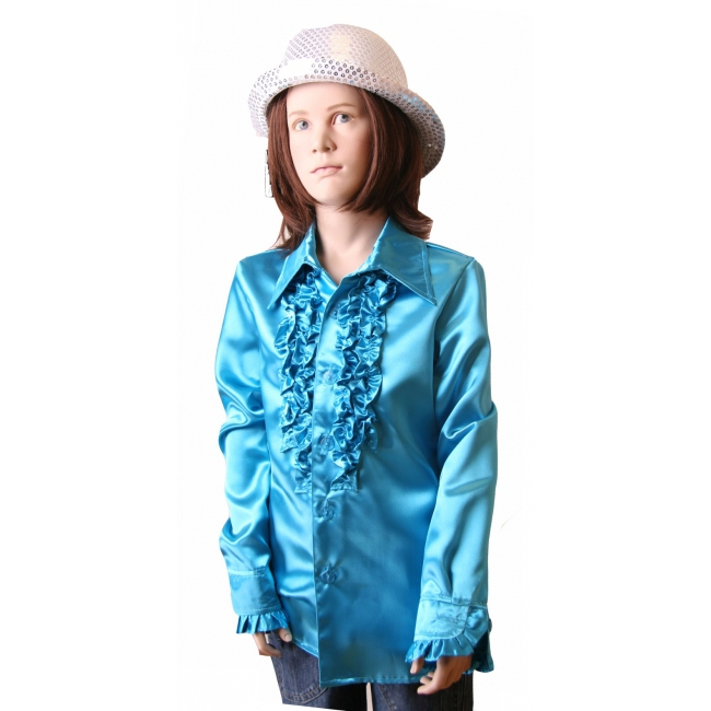 Rouche blouse meisjes blauw