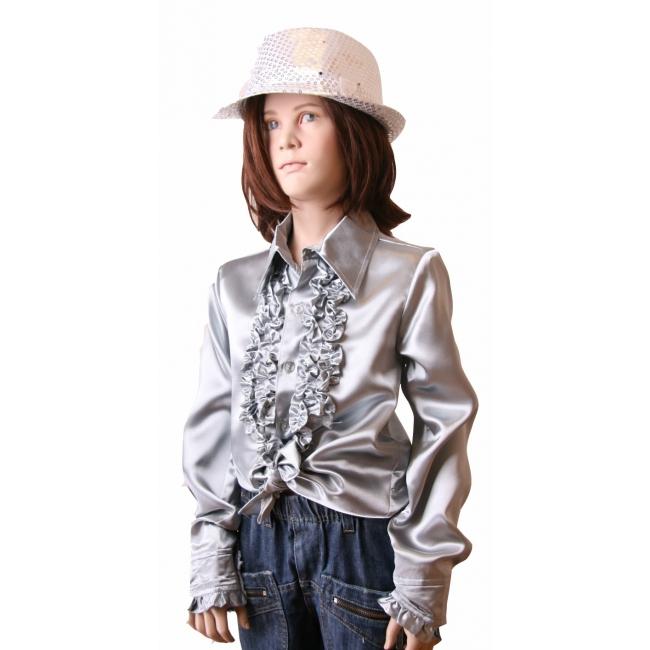Rouche blouse meisjes zilver