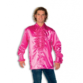 Rouche overhemd voor heren roze
