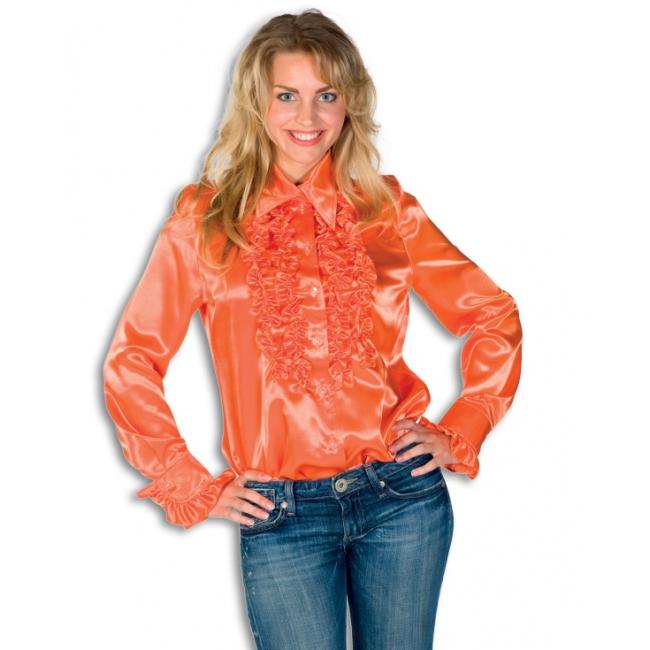 Rouches shirt voor dames oranje