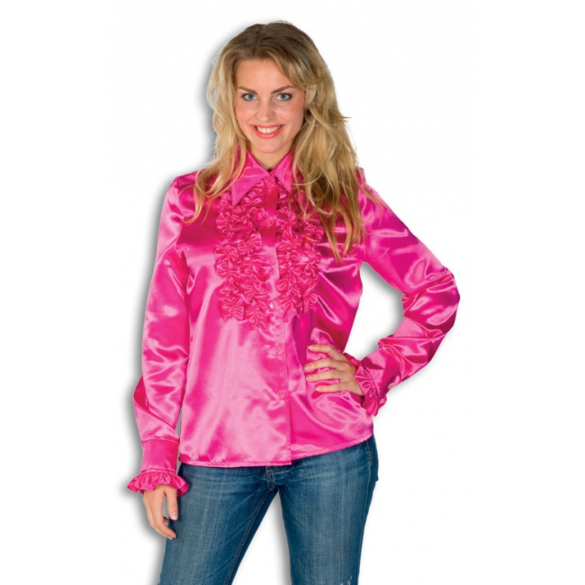 Rouches shirt voor dames roze
