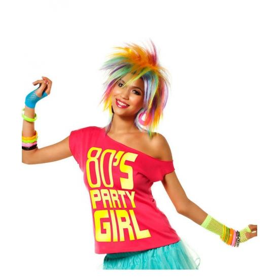 Roze disco t shirt jaren 80