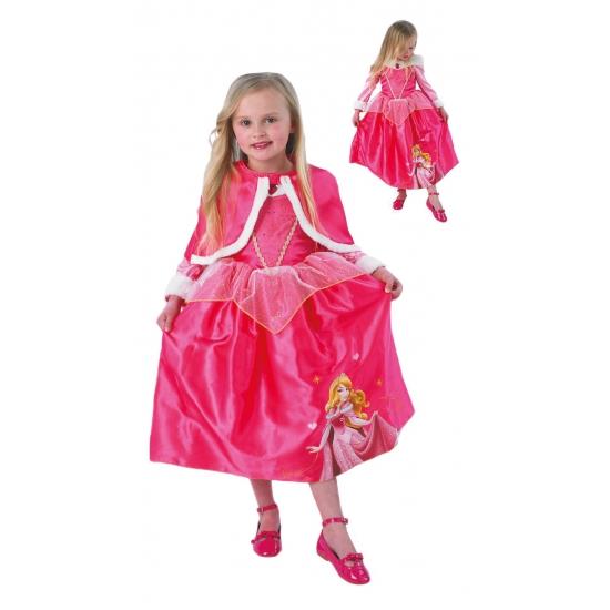 Roze Doornroosje jurk met cape voor kinderen