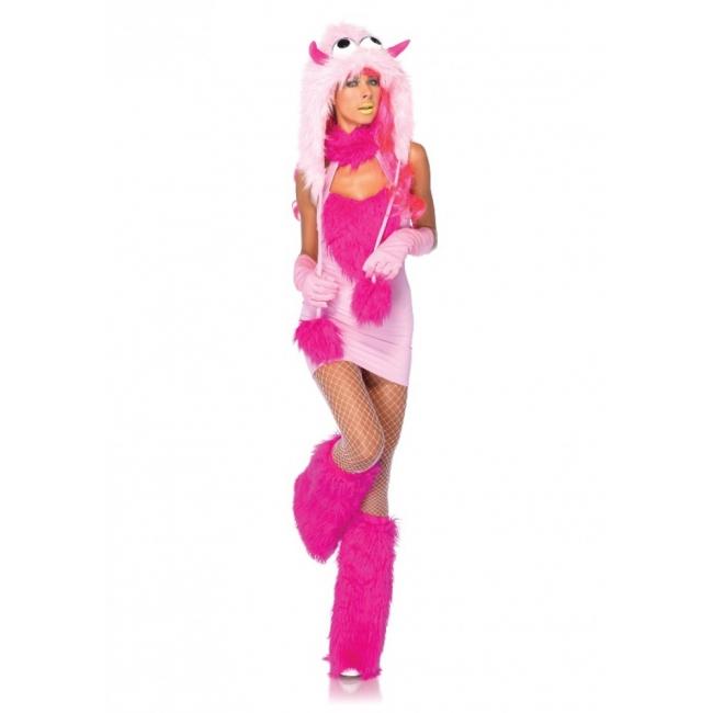 Roze fantasy monster kostuum voor dames