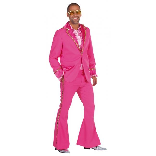 Roze glitter kostuum heren