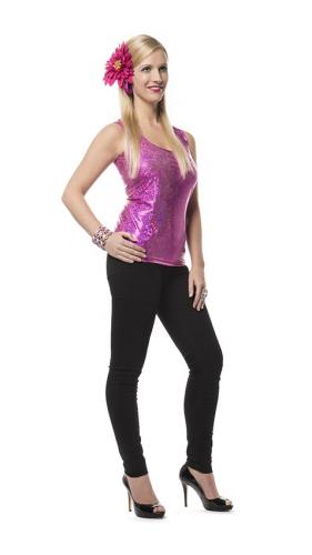 Roze holografisch shirt voor dames