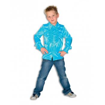 Satijnen blouse blauw jongens