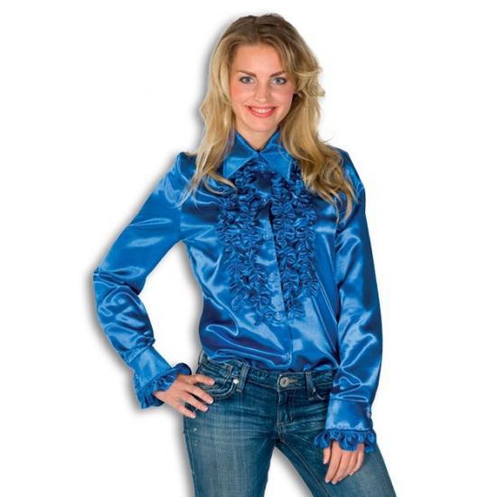 Satijnen overhemd blauw dames