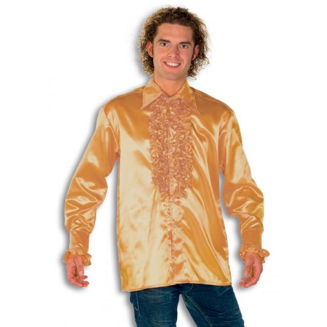 Satijnen overhemd goud heren