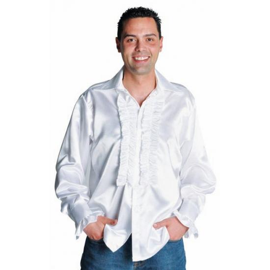 Satijnen overhemd met rouches