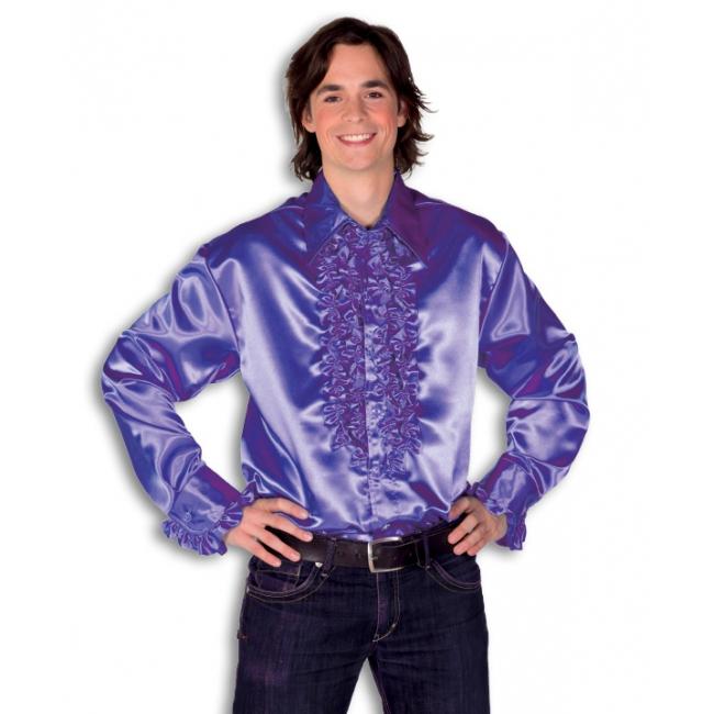Satijnen overhemd paars heren