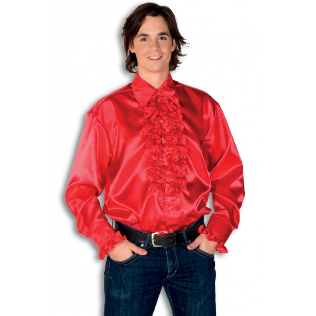 Satijnen overhemd rood heren