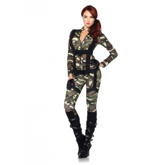 Sexy camouflage bodysuit met harnas