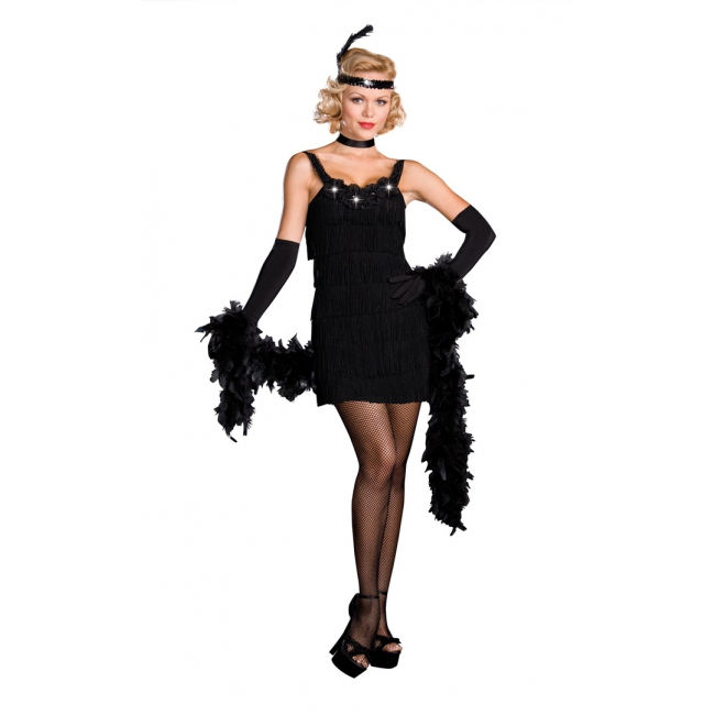 Sexy jaren 20 jurkje zwart