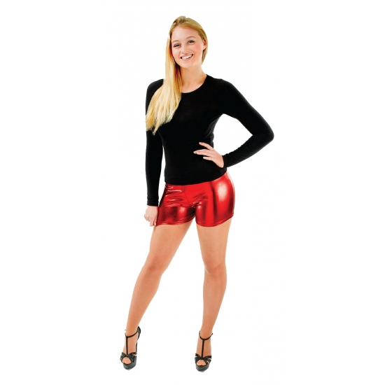 Sexy shorts metallic rood