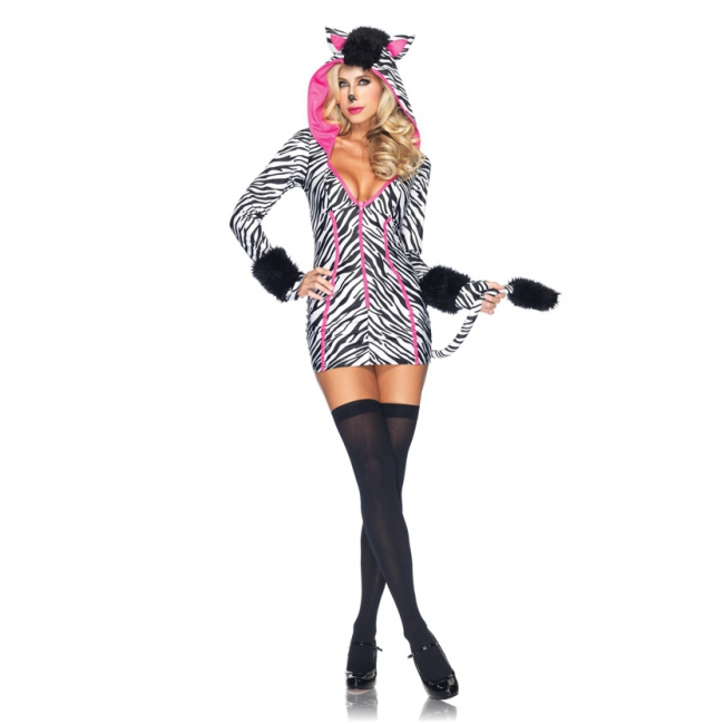 Sexy zebra kostuum voor dames