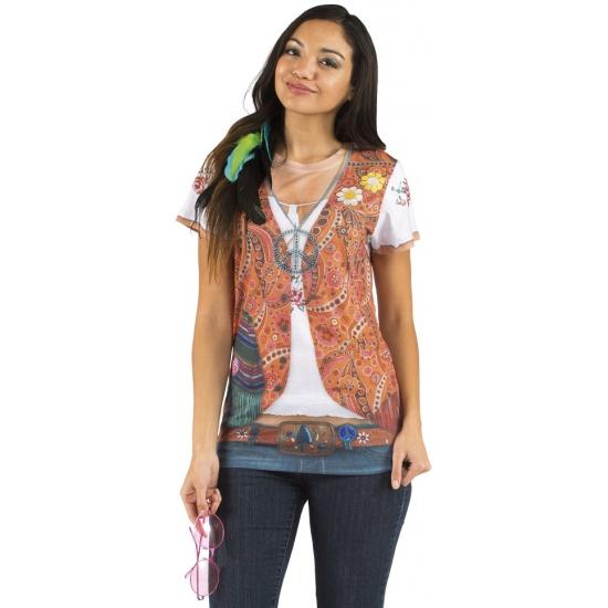 Shirt met hippie opdruk dames