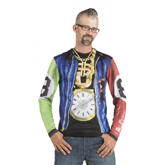 Shirt met rapper jasje opdruk