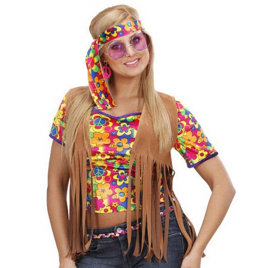 Sixties hippie vestje met hoofdband