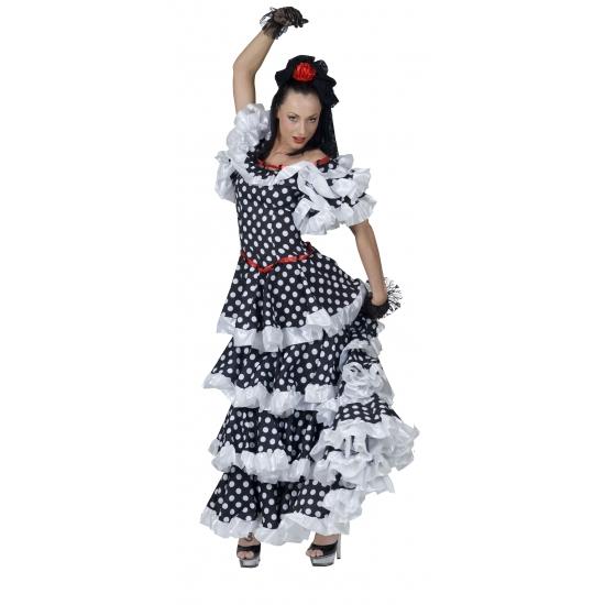 Spaanse jurk zwart met wit