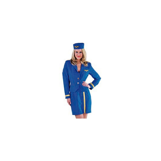 Stewardes kostuum blauw voor dames