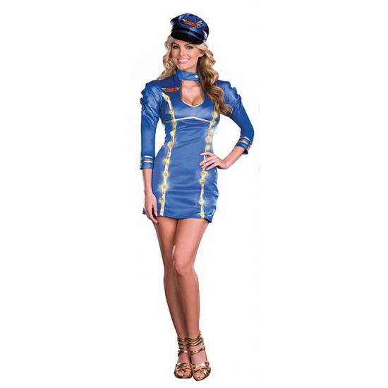 Stewardess verkleedkleding jurkje met licht