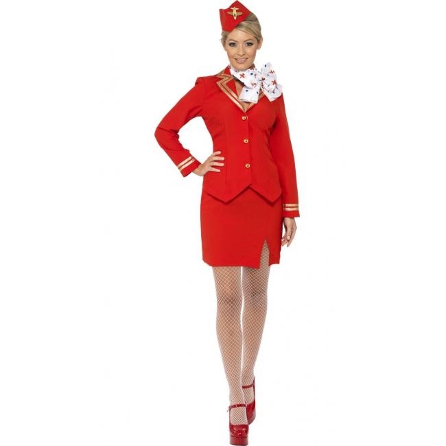 Stewardess verkleedkleding rood