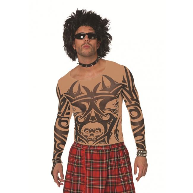 Tattoo t shirt voor heren huidkleur