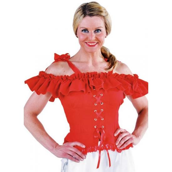 Tiroler blouse met koordje Carmen rood