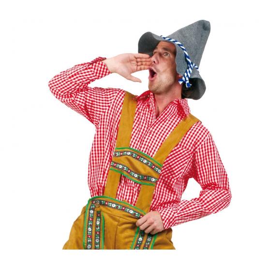 Tiroler outfit rode blouse voor heren