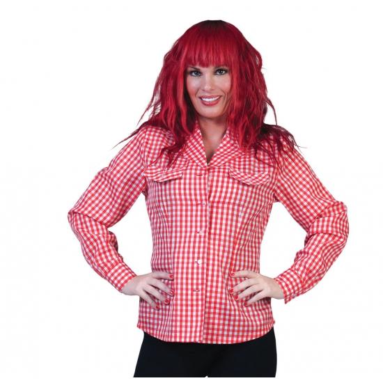 Tiroler overhemd rood met wit geblokt