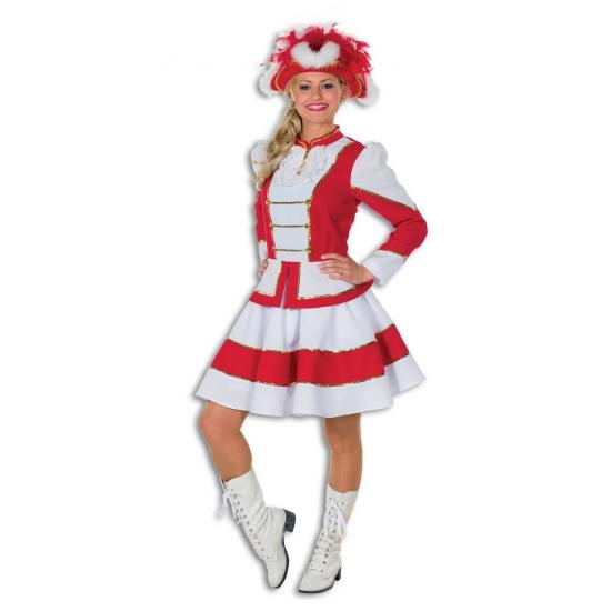 Twirl kostuum voor dames rood met wit