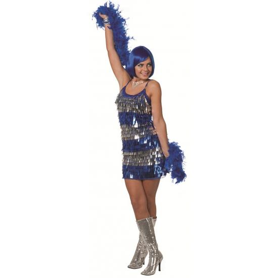 Verkleedkleding blauw jurkje met pailletten