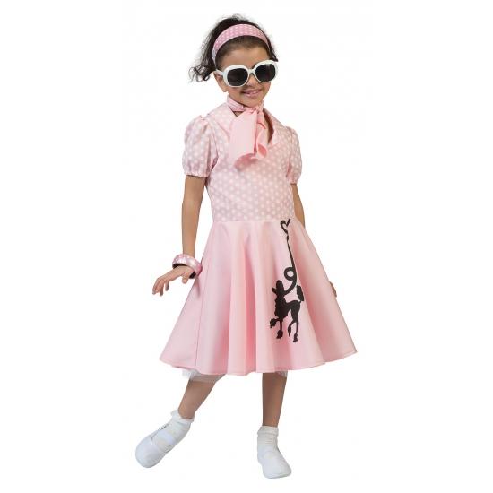 Verkleedkleding roze jurkje jaren 50