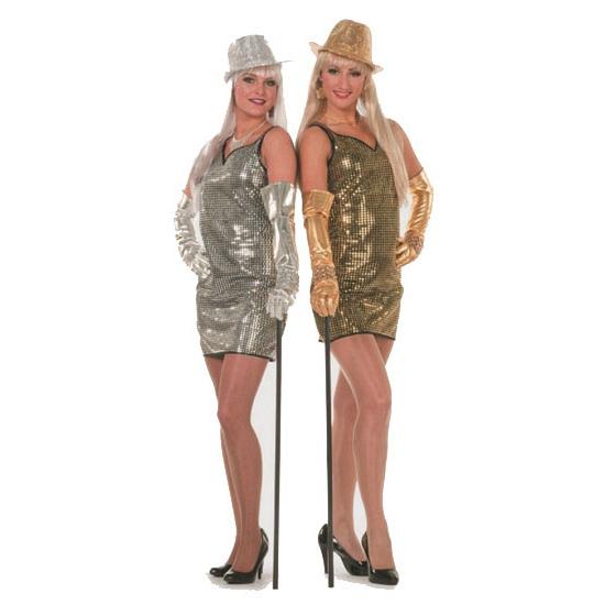 Verkleedkleding zilveren jurkje met pailletten