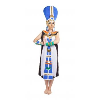 Wit met blauw farao dames kostuum
