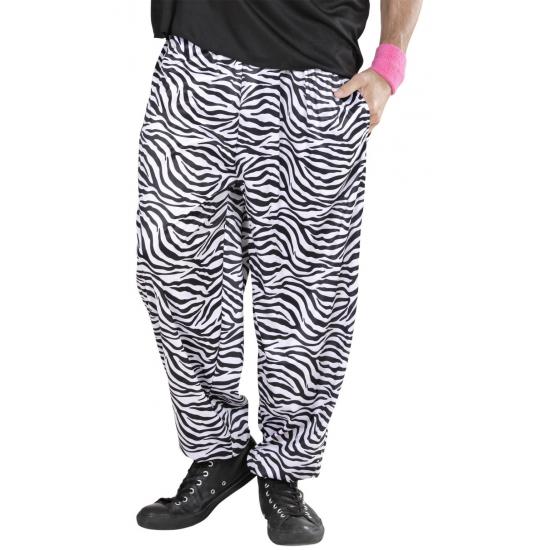 Witte zebraprint broek voor heren