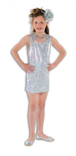 Zilveren glitterende jurk  voor meisjes