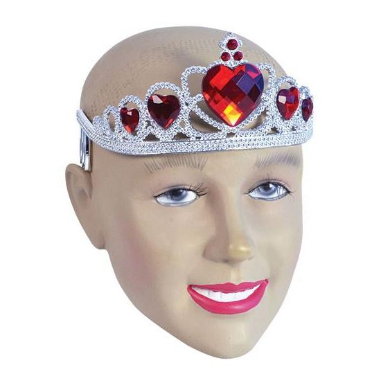 Zilveren kroontjes met rode stenen