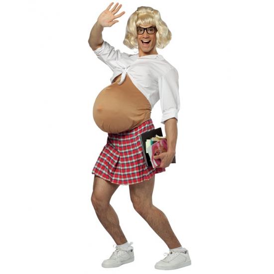 Zwanger schoolmeisje volwassenen kostuum