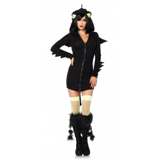 Zwart draken kostuum voor dames
