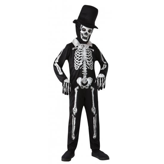 Zwart kinder pak met wit skelet