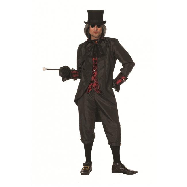 Zwart met rood steampunk kostuum